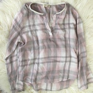 ANTHROPOLOGIE CLOTH & STONE PLAID TOP BLOUSE S